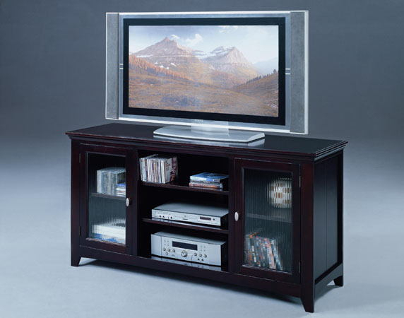 Recent Glass Front Tv Stands Intended For 5005A Espresso Finish Wood Tv Stand With Glass Front Doors (View 3 of 25)
