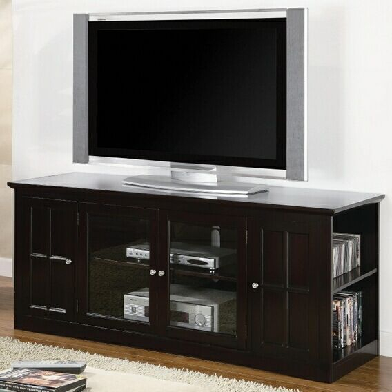 "Recent Glass Front Tv Stands Intended For 60"" Wide Medium Espresso Finish Wood Tv Stand With Glass Front (View 6 of 25)"