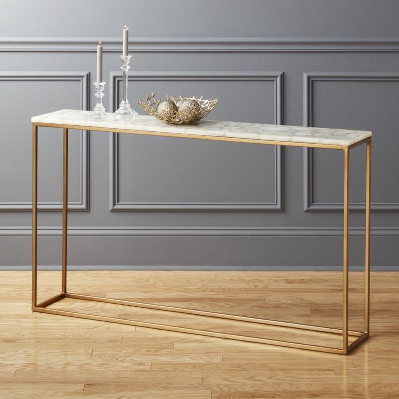 "Recent Mix Agate Metal Frame Console Tables For Peekaboo 56"" Acrylic Console Table In  (Image 19 of 25)"