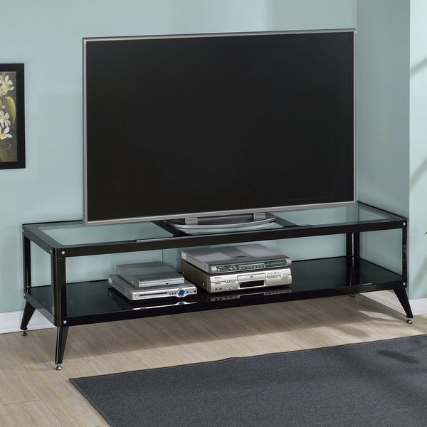 Recent Oxford 84 Inch Tv Stands For Shop Furniture Of America Linden Modern Glass Top Tv Stand – On Sale (Image 12 of 25)