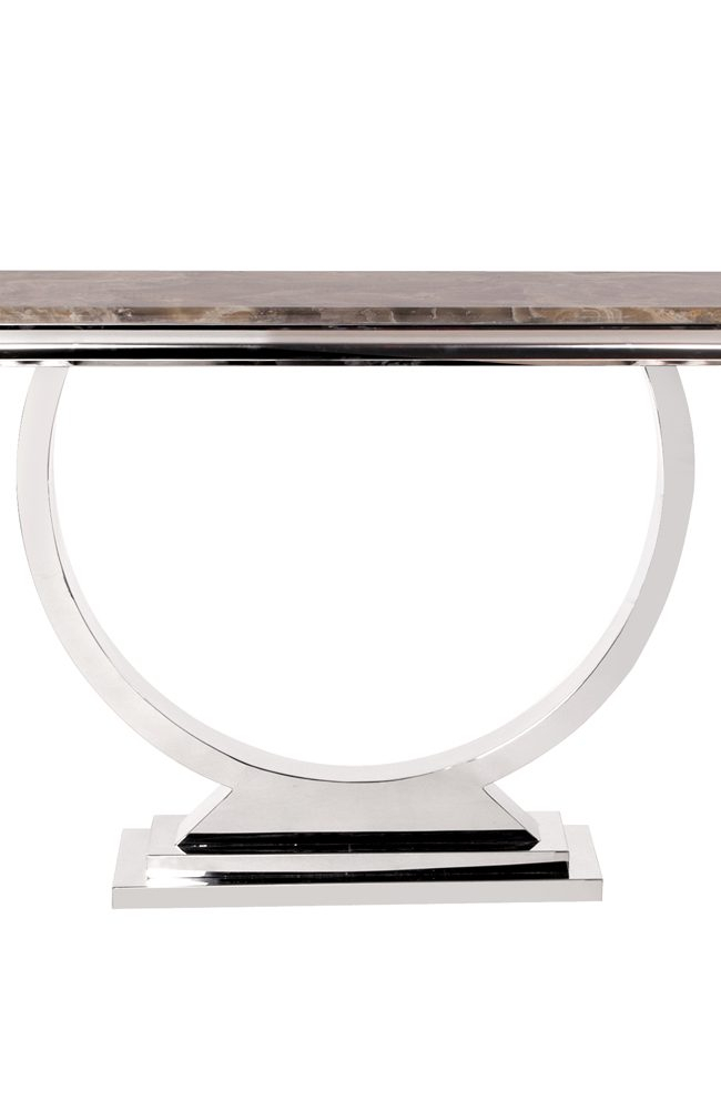 Recent Parsons Grey Marble Top & Dark Steel Base 48X16 Console Tables For Stainless Steel Console Table Lexington Polished Stainless Steel (View 23 of 25)