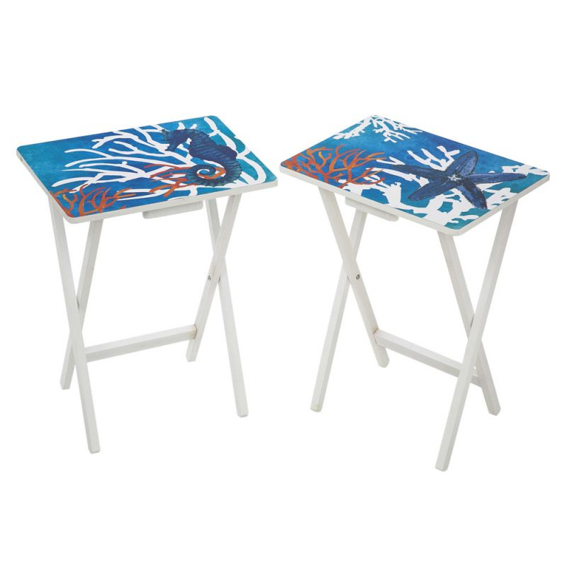 Recent Tv Tray Set With Stands With Red And White Coral Pops On This Set Of 2 Tv Trays (View 19 of 25)