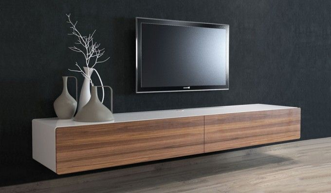 Recent Very Cheap Tv Units Regarding Ikon White + Walnut Floating Tv Unit – 220Cm … (Image 17 of 25)