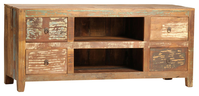 Reclaimed Wood Plasma Tv Stand – Rustic – Entertainment Centers And Within Best And Newest Marvin Rustic Natural 60 Inch Tv Stands (Image 15 of 25)