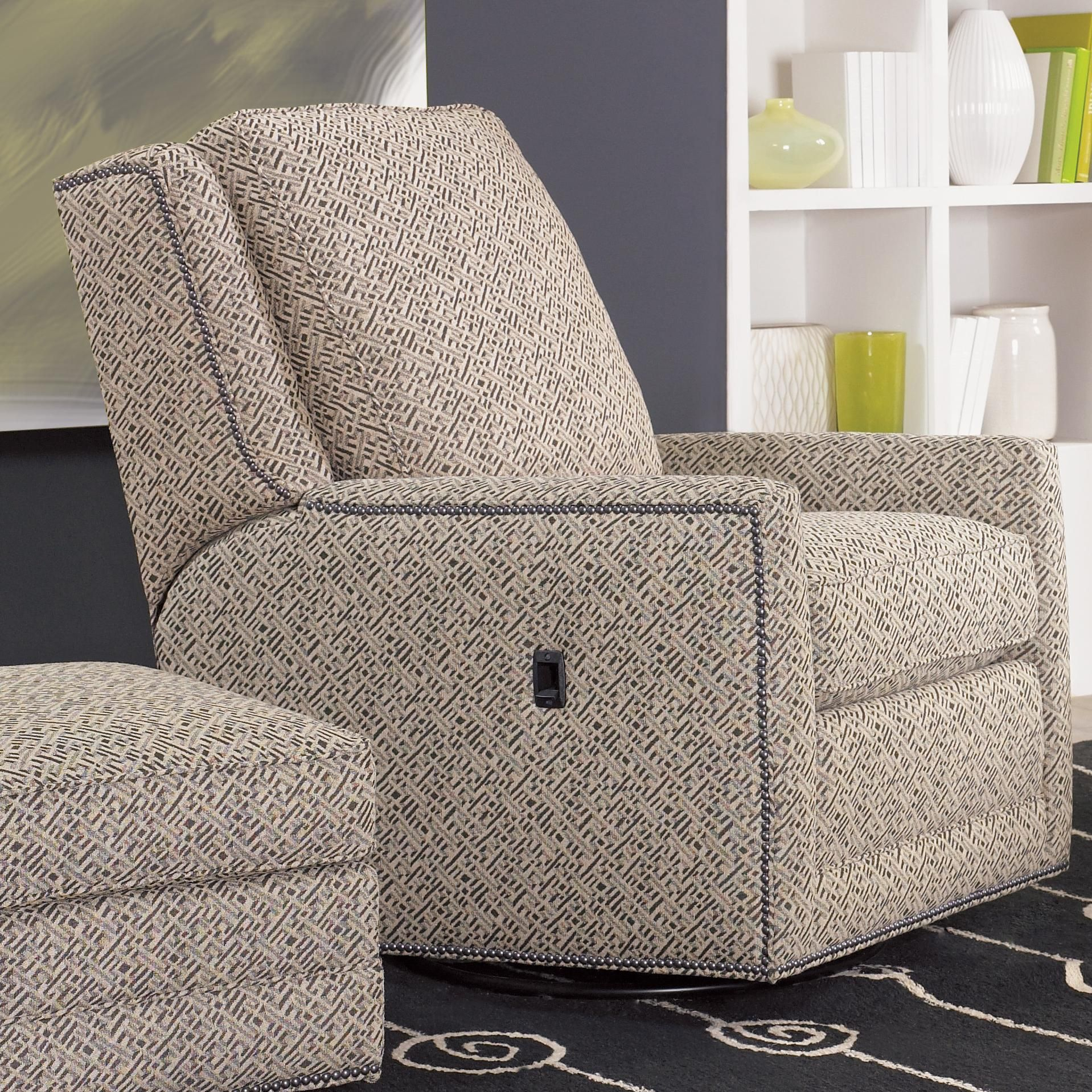 Recliners Swivel Tilt Back Chairsmith Brothers | Recliner In Bailey Linen Flare Arm Wing Skirted Swivel Gliders (Image 23 of 25)