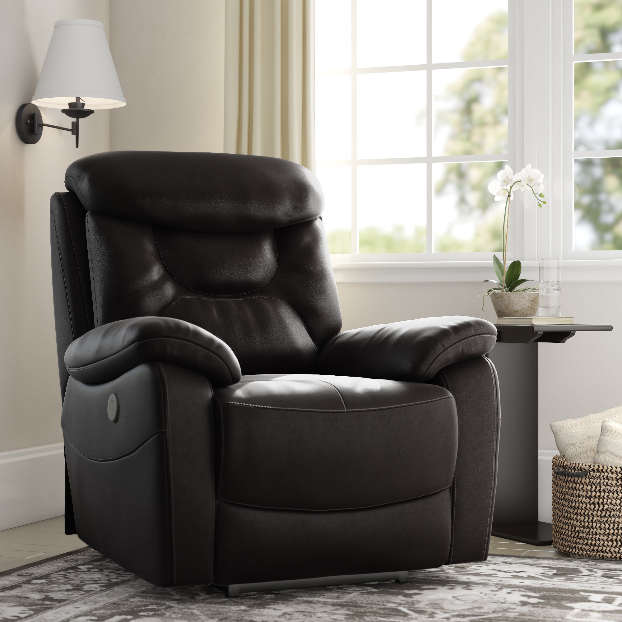 Red Barrel Studio Oh Leather Power Recliner & Reviews | Wayfair For Cohen Foam Oversized Sofa Chairs (View 11 of 25)