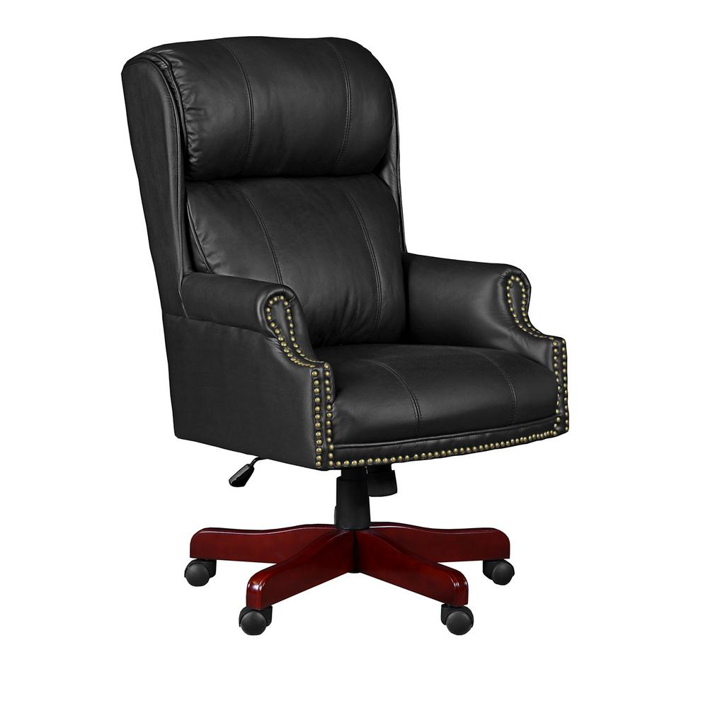 Regency Barrington Black Swivel Chair 9099Lbk – The Home Depot In Leather Black Swivel Chairs (View 9 of 25)