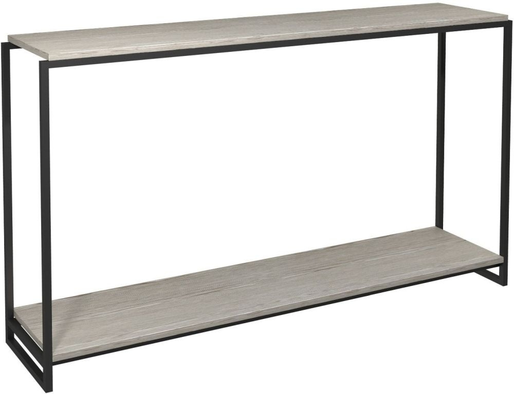 Regents Weathered Oak Narrow Console Table With Black Metal Frame In 2017 Frame Console Tables (Image 21 of 25)