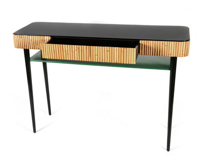 Riviera Console – / Rattan – Drawer Black & Green / Natural Rattan With Regard To Most Recently Released Natural Cane Media Console Tables (View 14 of 25)