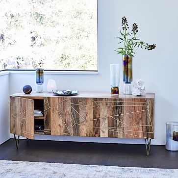 """Roar + Rabbit Geo Inlay Media Console – 68"""" – Raw Mango/brass At Intended For Current Oak & Brass Stacking Media Console Tables (Image 16 of 25)"""