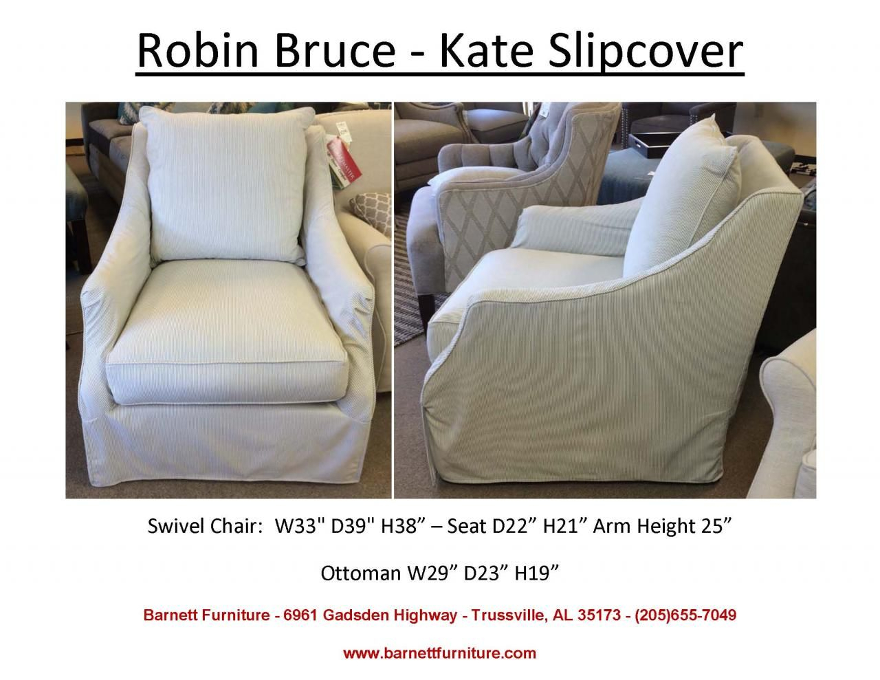 Robin Bruce Kate Slipcover Swivel Chair (Image 20 of 25)