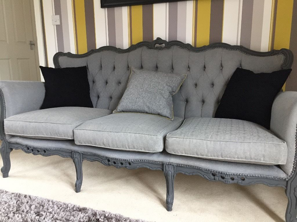 Rococo Italian Sofa – Vintage Shabby Chic In Classic Grey | In Regarding Mansfield Graphite Velvet Sofa Chairs (View 13 of 25)