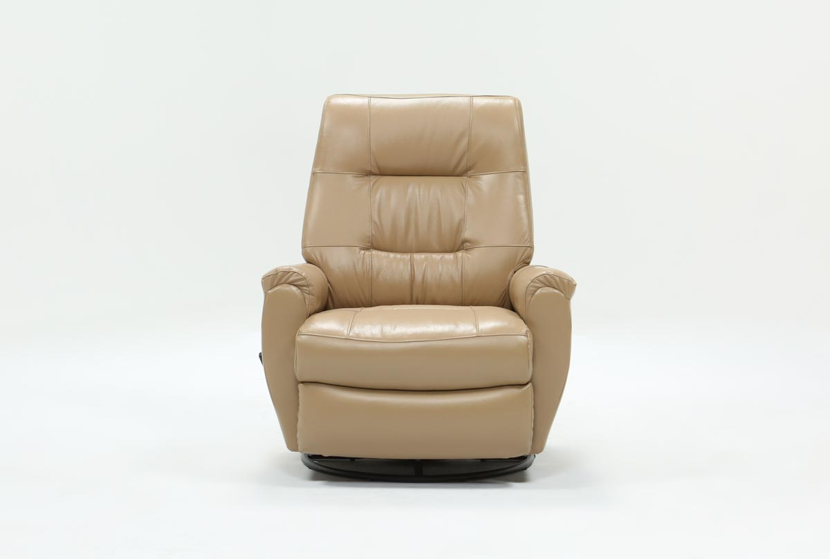 Featured Image of Rogan Leather Cafe Latte Swivel Glider Recliners