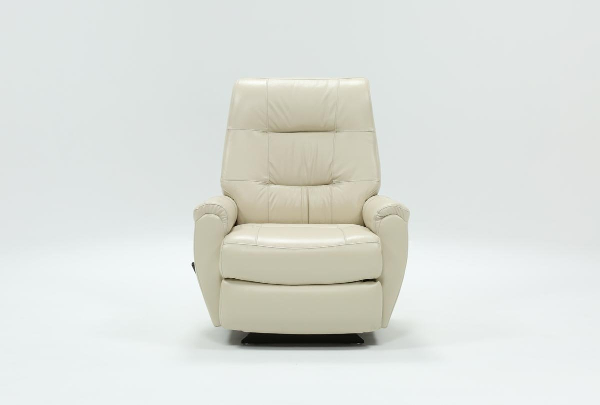 Rogan Leather Chalk Rocker Recliner | Living Spaces For Decker Ii Fabric Swivel Rocker Recliners (Image 19 of 25)