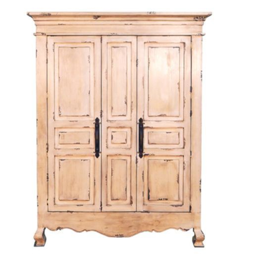 Rustic 2 Door Heirloom Armoire Cream Finish Distressed Solid Wood Tv Throughout Recent Wood Tv Armoire (Image 16 of 25)