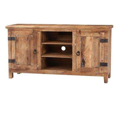 Rustic – Tv Stands – Living Room Furniture – The Home Depot Within Famous Natural 2 Door Plasma Console Tables (View 10 of 25)