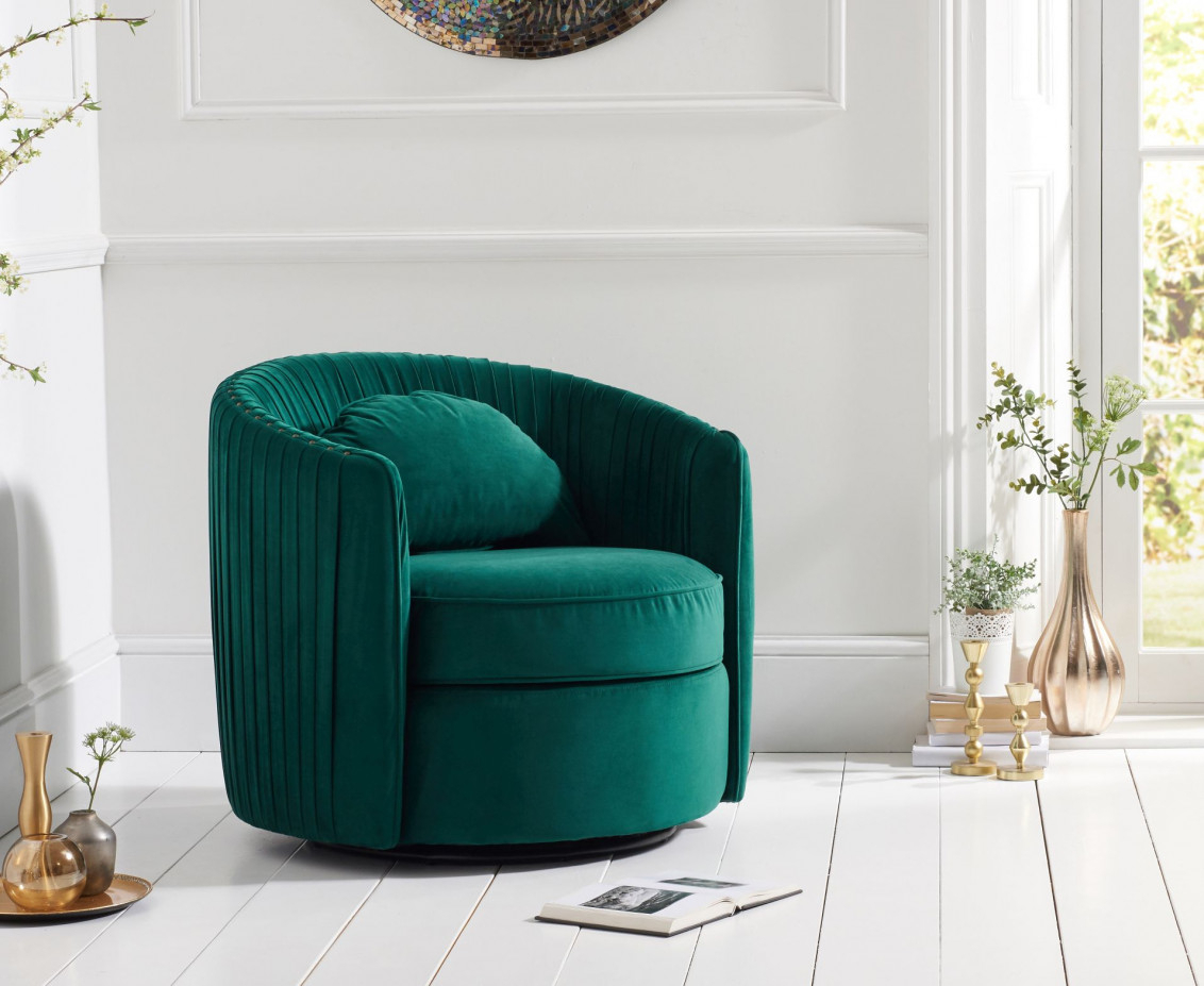 Sadie Green Velvet Swivel Chair | The Great Furniture Trading Company Pertaining To Sadie Ii Swivel Accent Chairs (View 20 of 25)