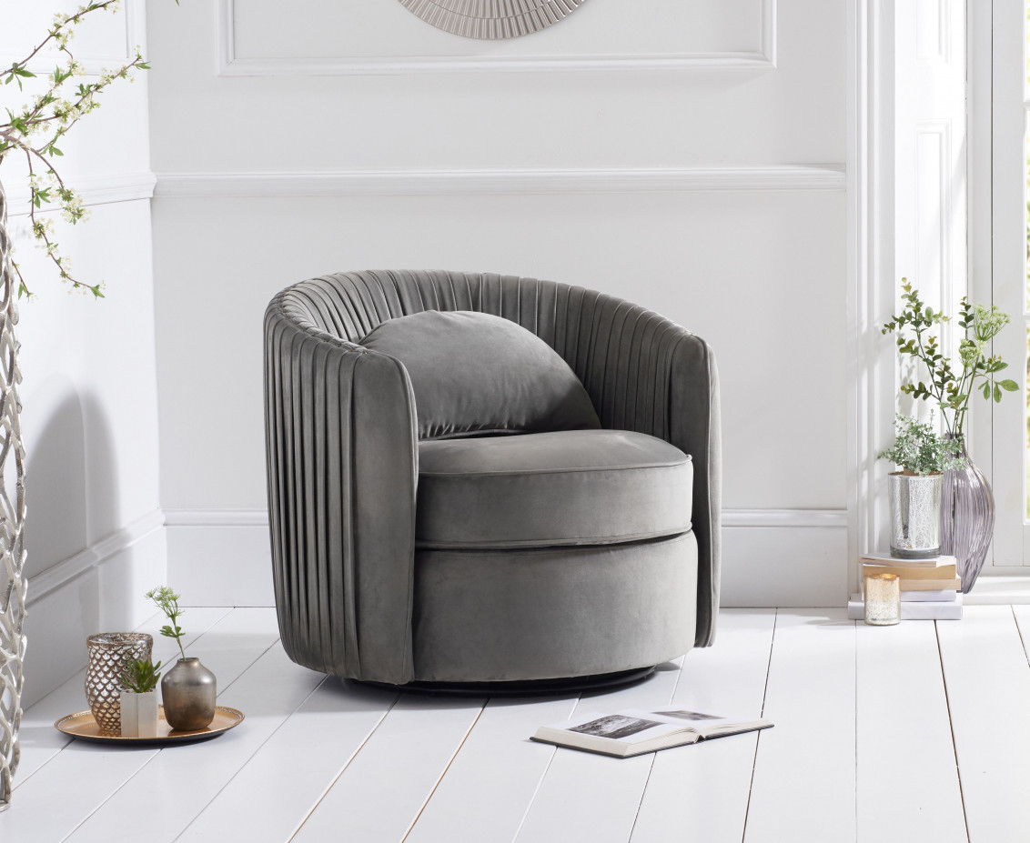 Sadie Grey Velvet Swivel Chair | The Great Furniture Trading Company With Regard To Sadie Ii Swivel Accent Chairs (View 18 of 25)