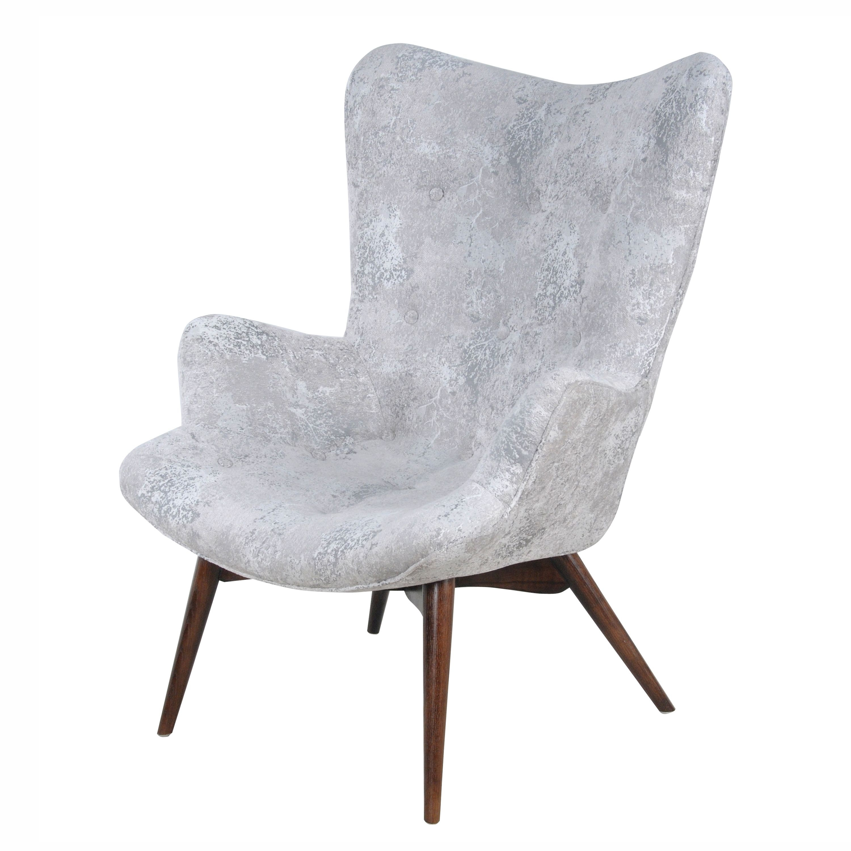 Sadie Kd Arm Chair Dark Walnut Legs, Crackle Hematite/413037 214 313 In Sadie Ii Swivel Accent Chairs (View 3 of 25)