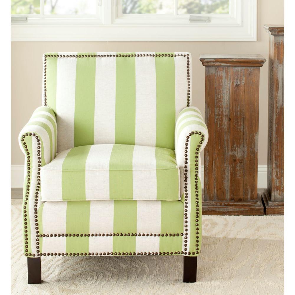 Safavieh Easton Green & Cream Linen Club Arm Chair Mcr4572C – The Regarding Mansfield Beige Linen Sofa Chairs (Image 20 of 25)