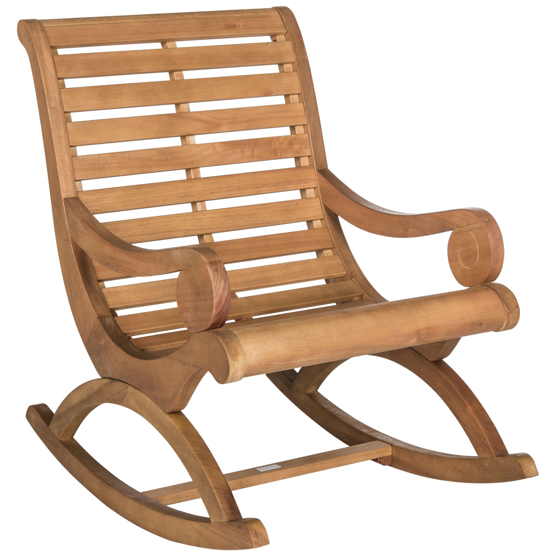 Safavieh Outdoor Living Sonora Teak Brown Rocking Chair – Overstock Regarding Quinn Teak Sofa Chairs (View 22 of 25)