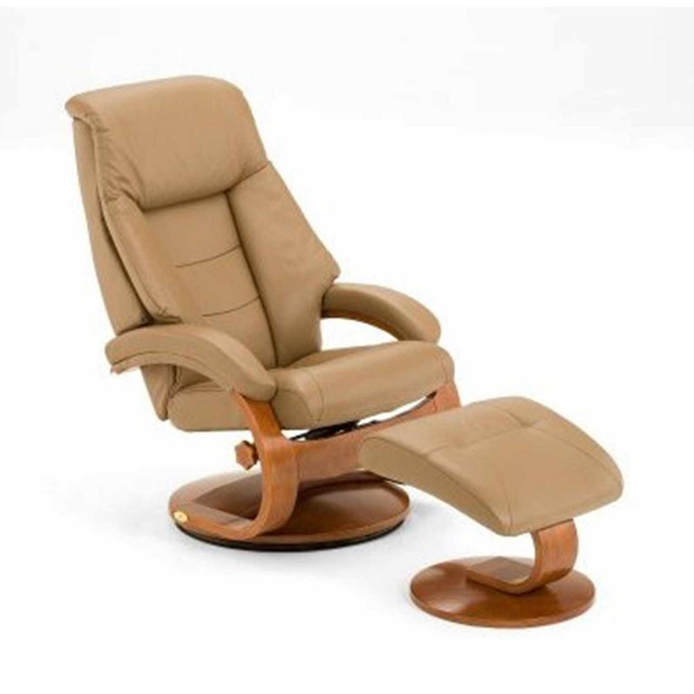 Sand Top Grain Leather Swivel Recliner With Ottoman 58 Lo3 24 103 For Espresso Leather Swivel Chairs (Image 22 of 25)