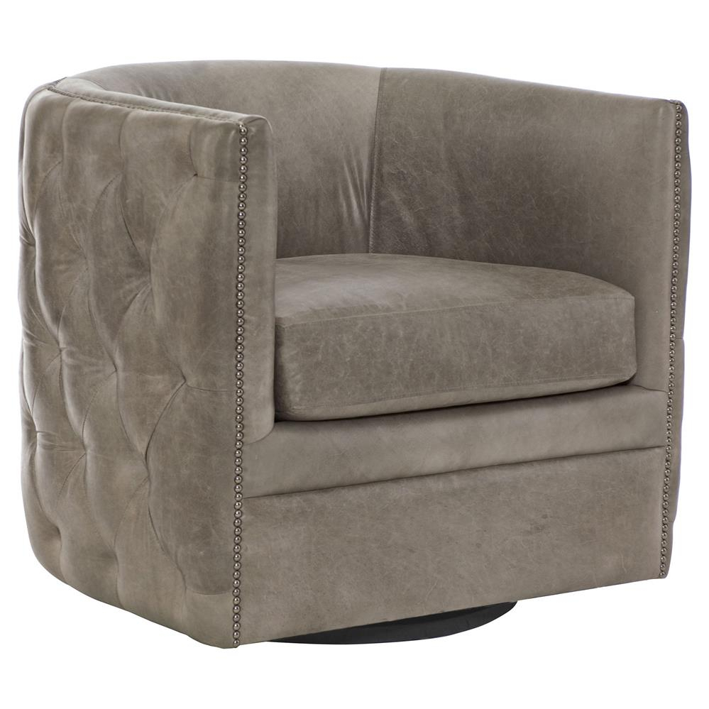 Sawyer Modern Classic Grey Leather Round Swivel Chair | Kathy Kuo Home In Grey Swivel Chairs (View 7 of 25)