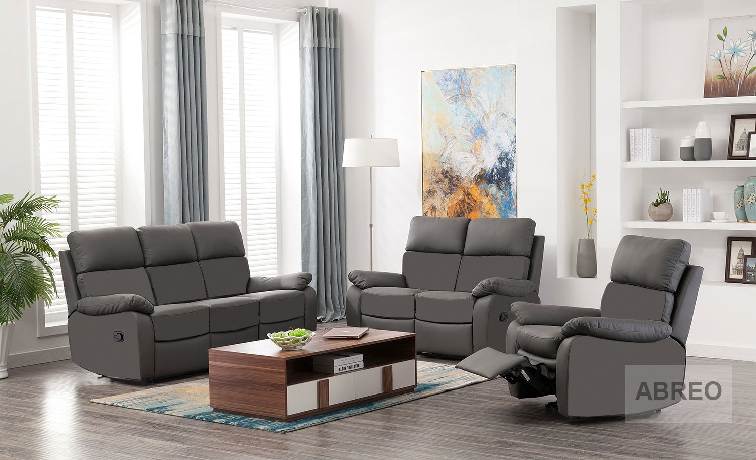 Seater Leather Recliner Sofa Reclining Armchairs Living Room With Amala Dark Grey Leather Reclining Swivel Chairs (Image 23 of 25)