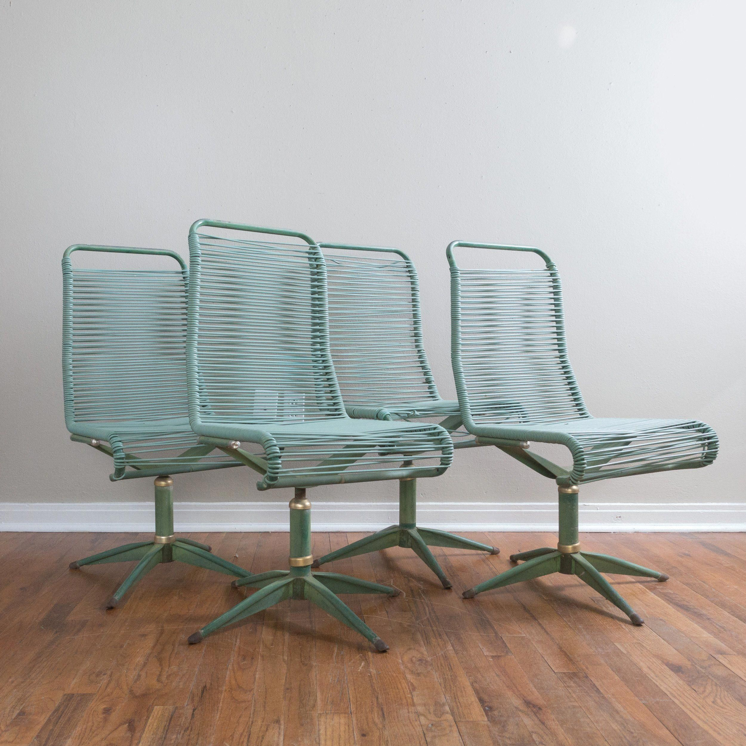 Set Of 4 Mid Century Ames Aire Green Patio Chairs Cabana Star Line In Ames Arm Sofa Chairs By Nate Berkus And Jeremiah Brent (View 8 of 25)
