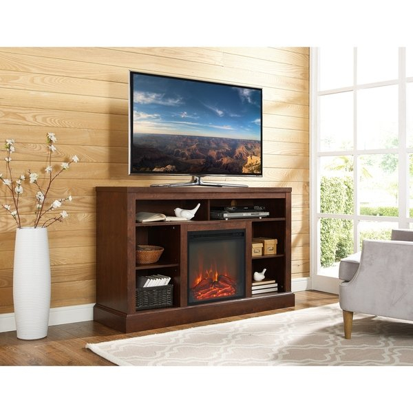 """Shop 52"""" Highboy Fireplace Tv Stand Console – Traditional Brown – 52 Regarding 2018 Canyon 64 Inch Tv Stands (Image 14 of 25)"""
