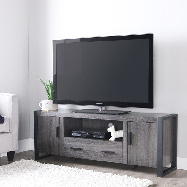 """Shop 60"""" Urban Blend Tv Stand Console – Charcoal – Free Shipping For Widely Used Century Sky 60 Inch Tv Stands (Image 11 of 25)"""