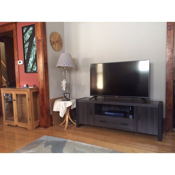 """Shop 60"""" Urban Blend Tv Stand Console – Charcoal – Free Shipping Inside Well Known Century Sky 60 Inch Tv Stands (Image 12 of 25)"""