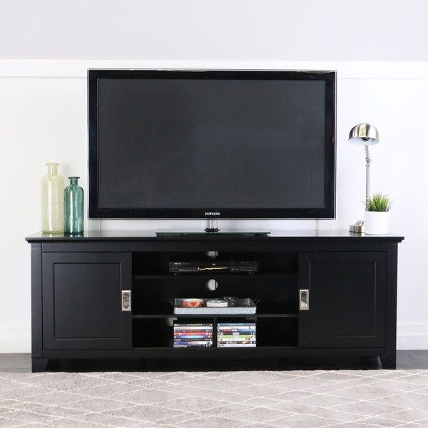 """Shop 70"""" Tv Stand Console With Sliding Doors – Black – 70 X 18 X 25H With Regard To Fashionable Century Sky 60 Inch Tv Stands (Image 13 of 25)"""
