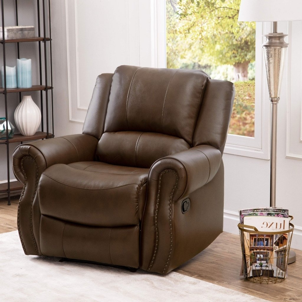 Shop Abbyson Calabasas Mesa Brown Leather Recliner – On Sale – Free Inside Mesa Foam Oversized Sofa Chairs (Image 20 of 25)