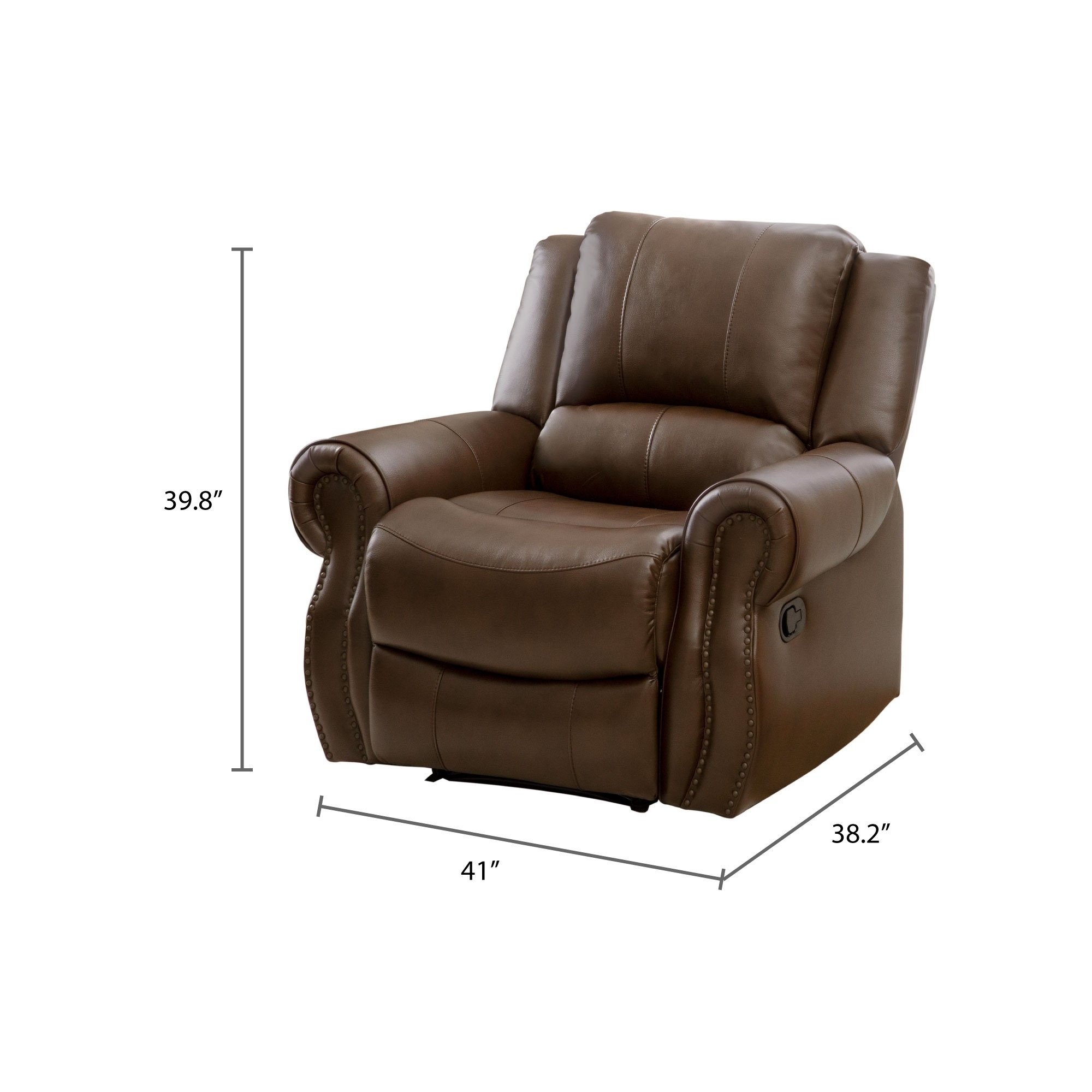 Shop Abbyson Calabasas Mesa Brown Leather Recliner – On Sale – Free Intended For Mesa Foam Oversized Sofa Chairs (Image 21 of 25)