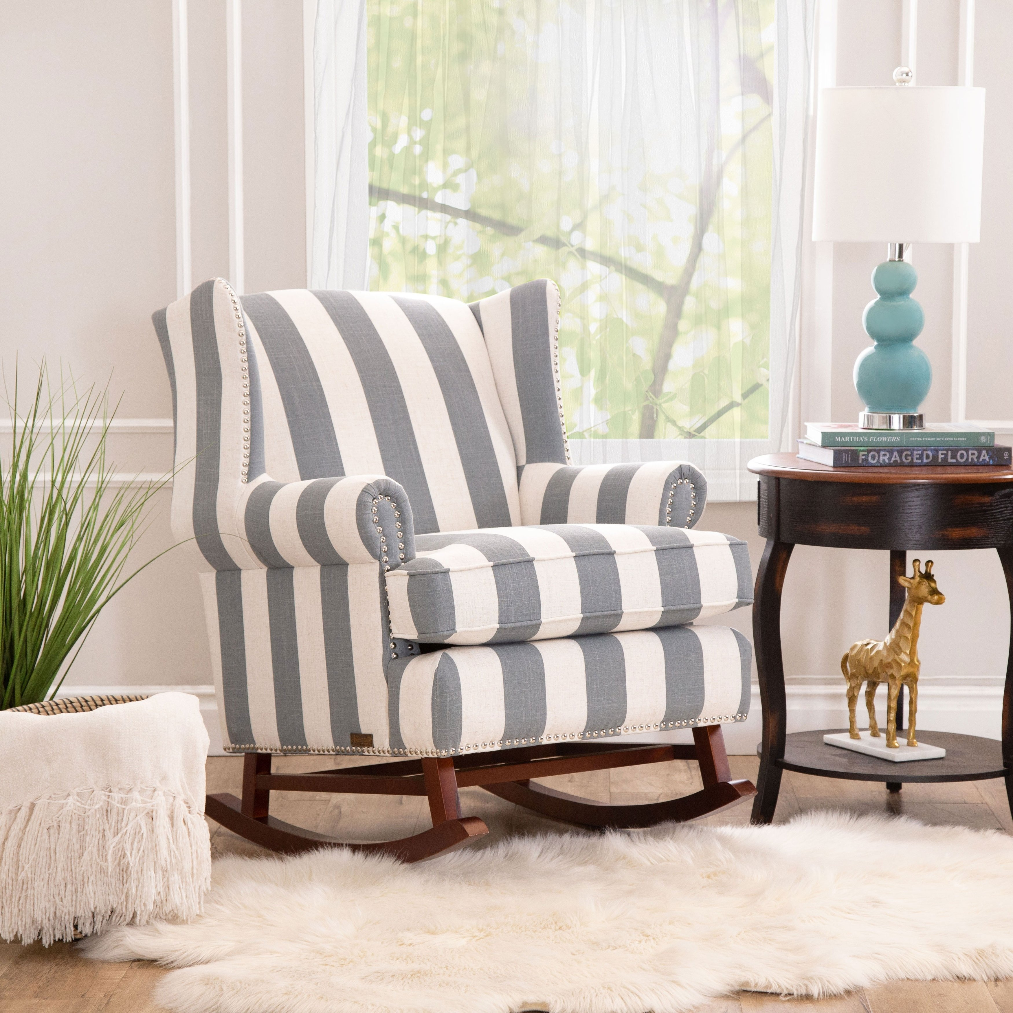 Shop Abbyson Radcliffe Two Tone Fabric Rocker Chair – On Sale – Free With Regard To Katrina Blue Swivel Glider Chairs (View 19 of 25)