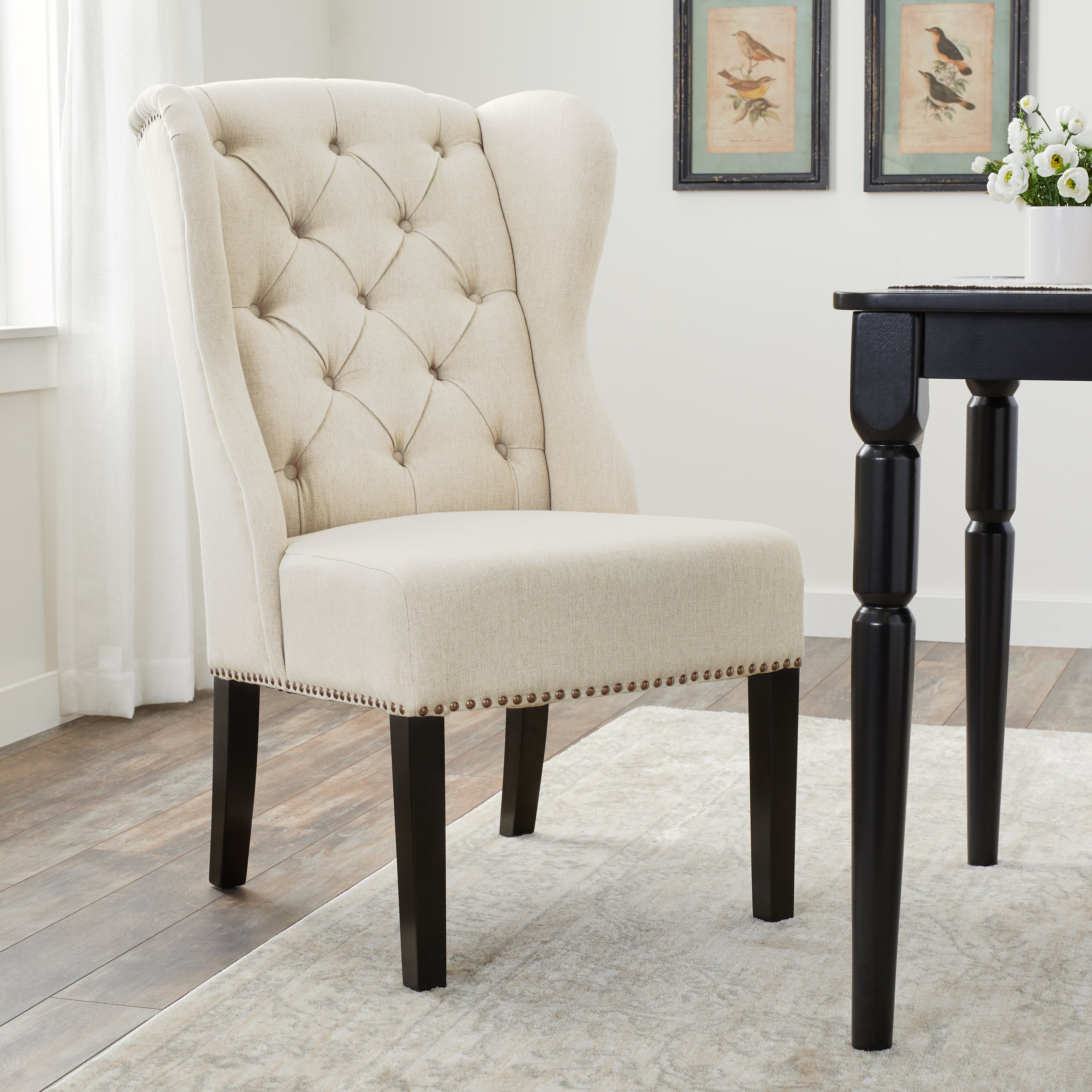 Shop Abbyson Sierra Tufted Cream Linen Wingback Dining Chair – Free With Regard To Sierra Foam Ii Oversized Sofa Chairs (Image 11 of 25)