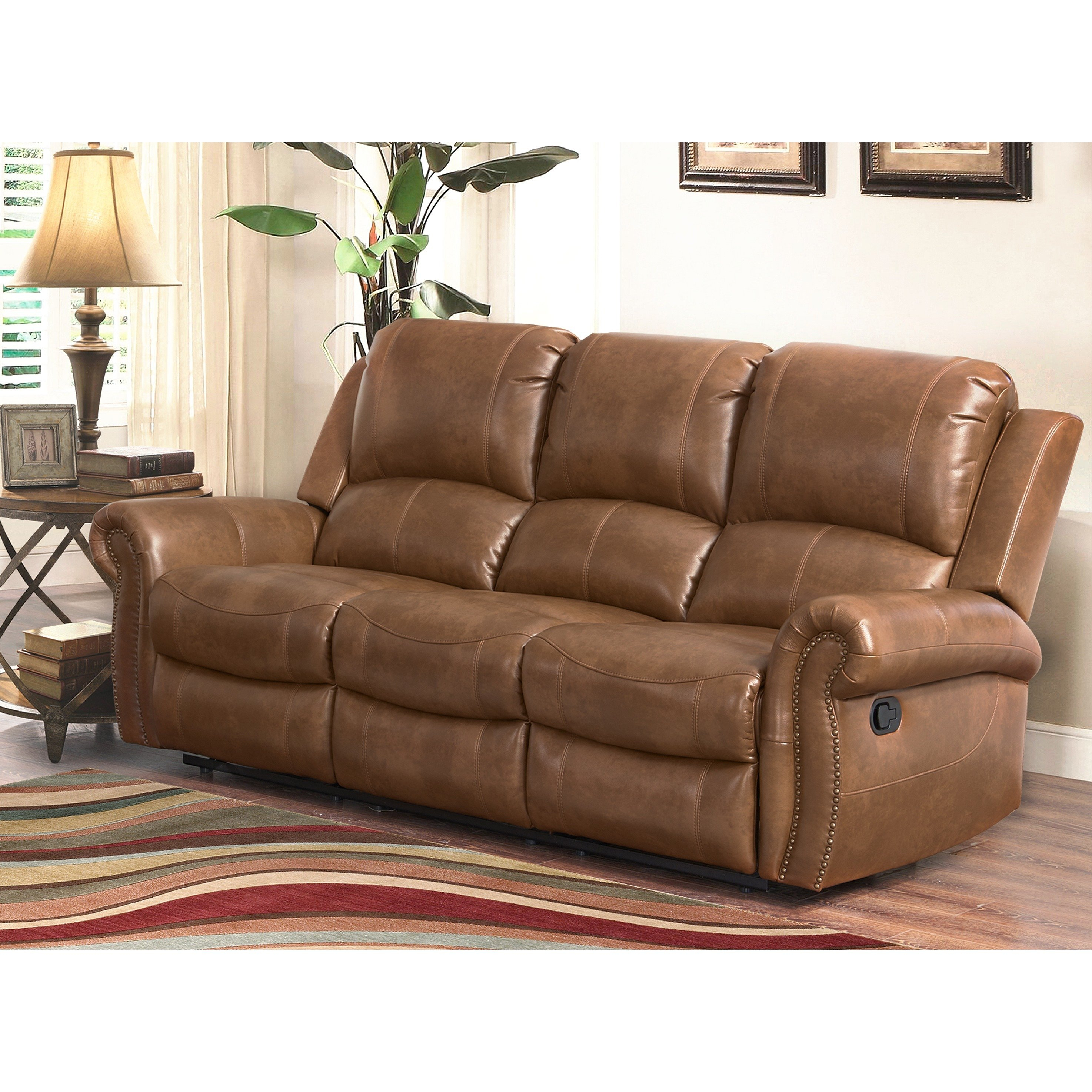 Shop Abbyson Skyler Cognac Leather Reclining Sofa – Free Shipping For Gina Blue Leather Sofa Chairs (View 7 of 25)