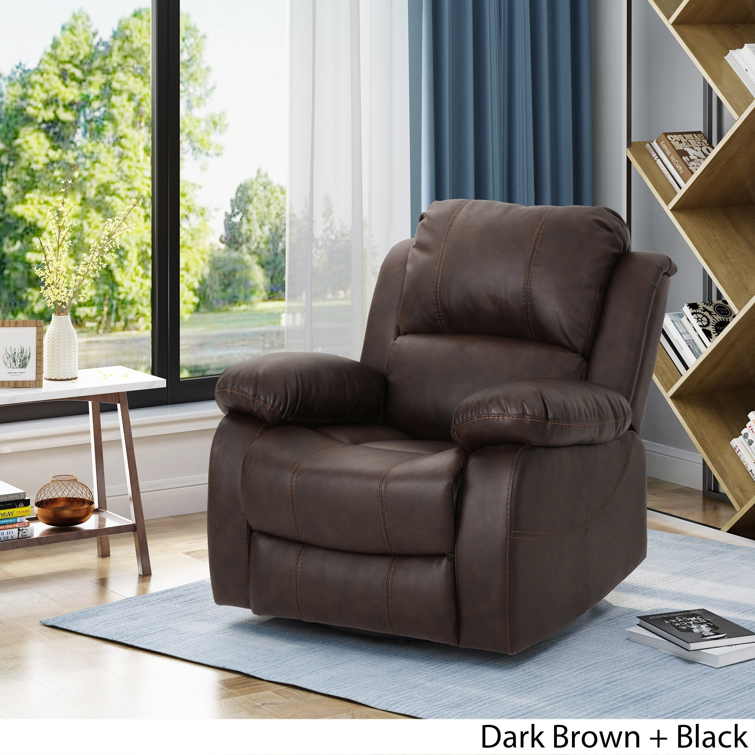 Shop Alianna Classic Leather Gliding Swivel Recliner Club Chair in Outdoor Koro Swivel Chairs