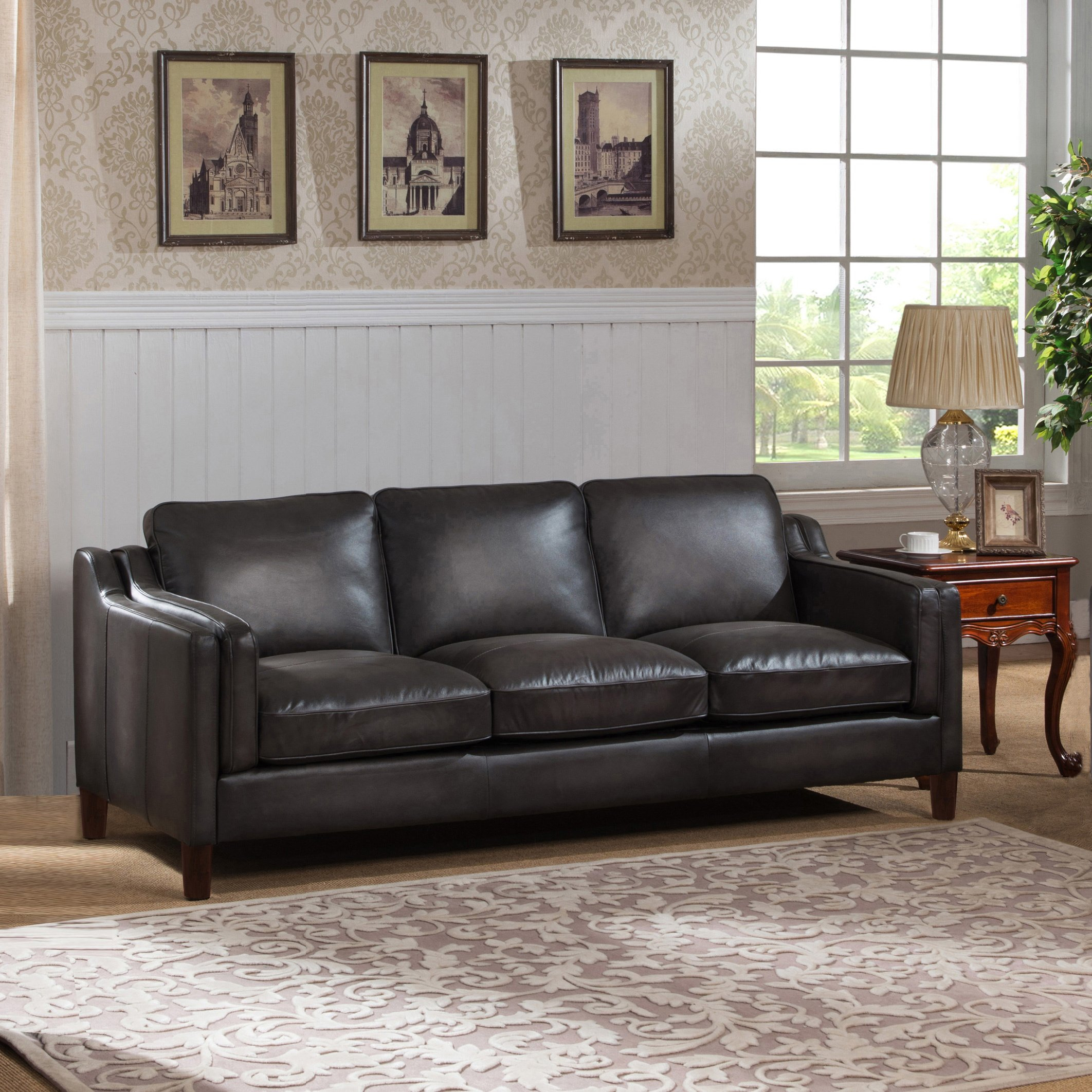 Shop Ames Premium Hand Rubbed Grey Top Grain Leather Sofa And Chair Inside Ames Arm Sofa Chairs (View 11 of 25)