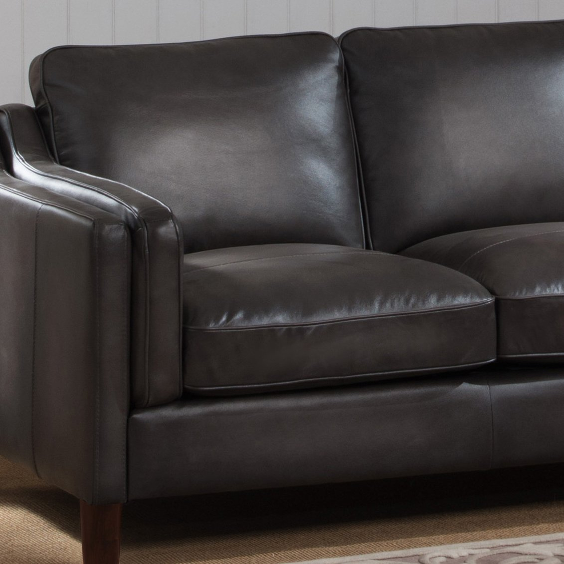 Shop Ames Premium Hand Rubbed Grey Top Grain Leather Sofa And In Ames Arm Sofa Chairs (View 4 of 25)
