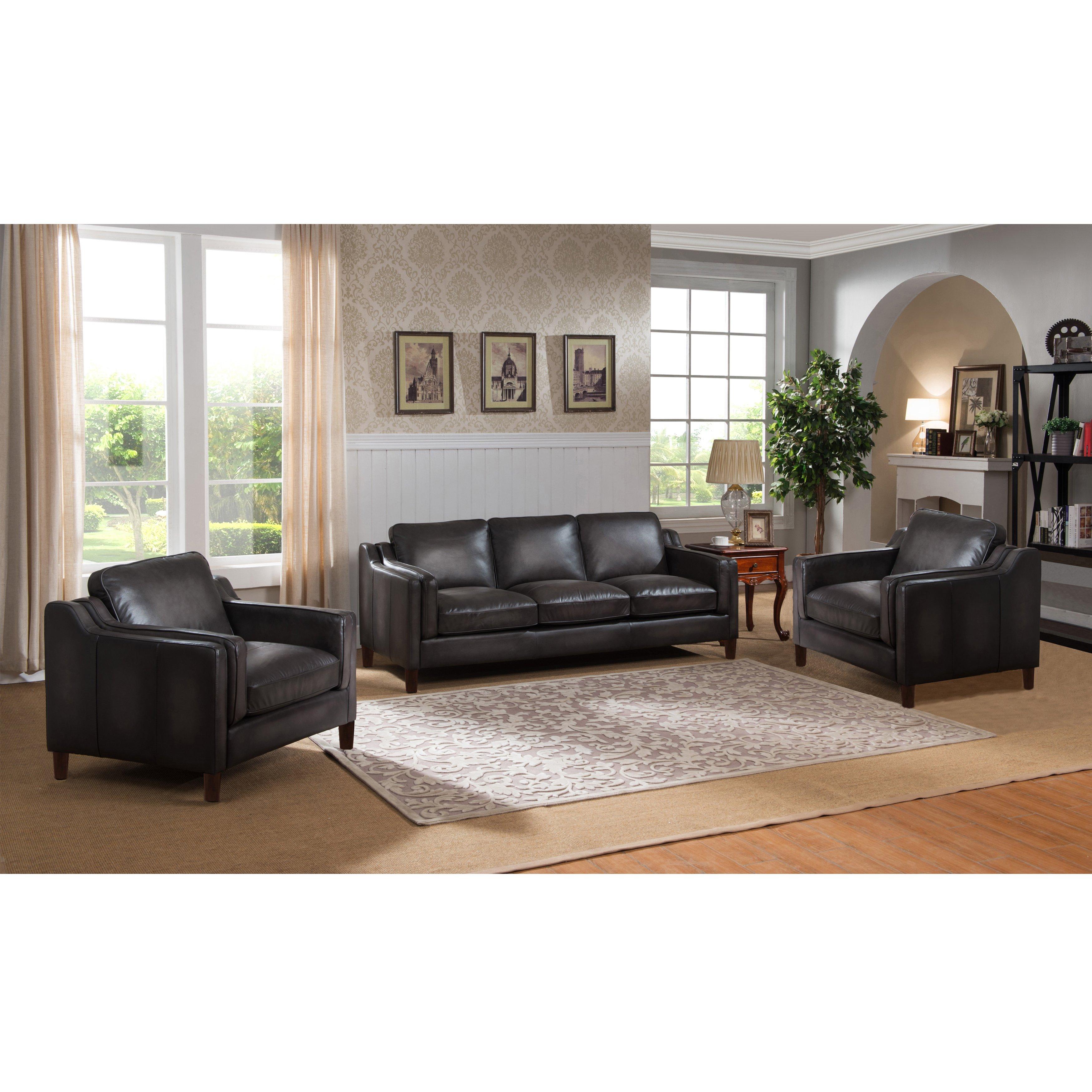 Shop Ames Premium Hand Rubbed Grey Top Grain Leather Sofa And Two Pertaining To Ames Arm Sofa Chairs (View 6 of 25)