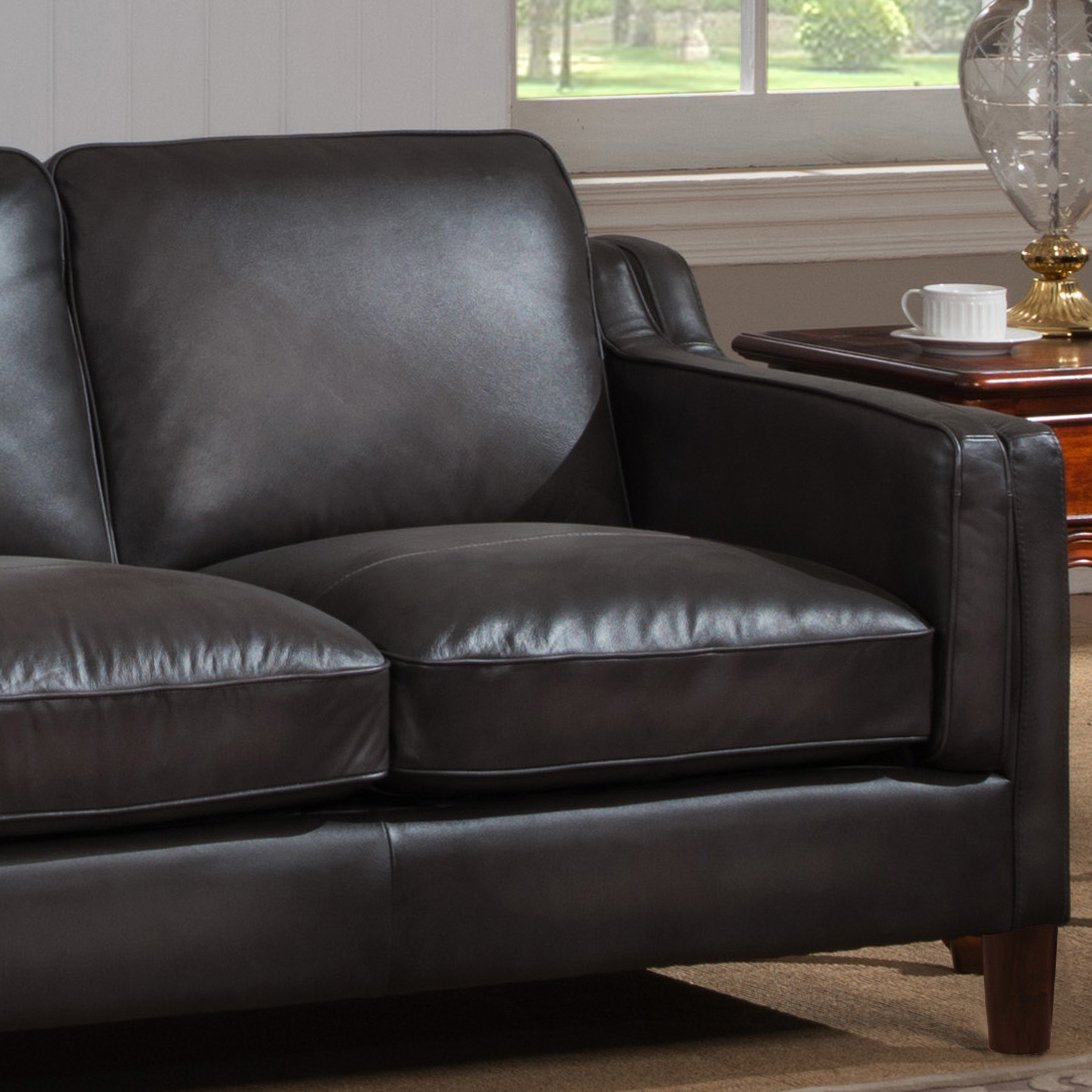 Shop Ames Premium Hand Rubbed Grey Top Grain Leather Sofa And With Regard To Ames Arm Sofa Chairs (View 5 of 25)