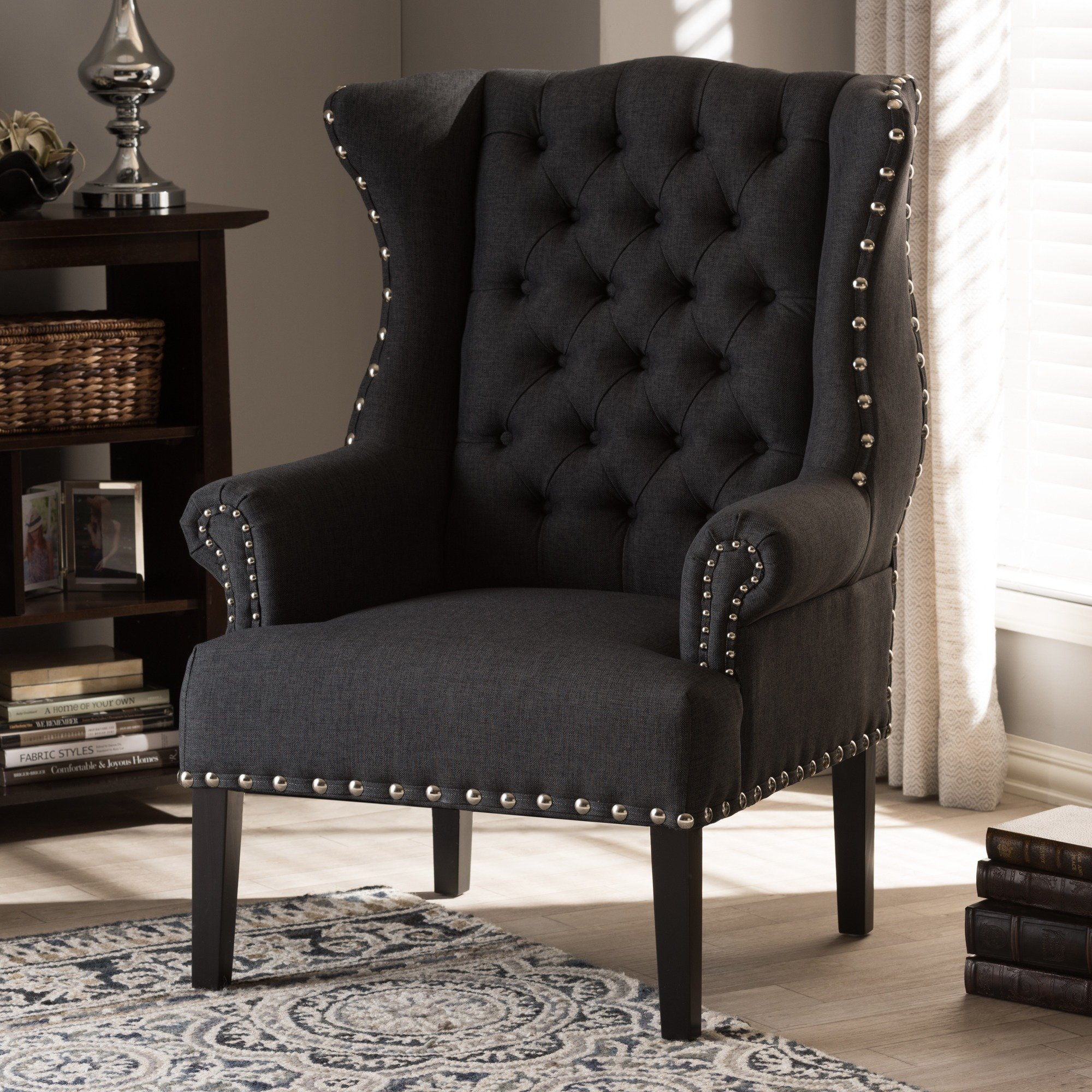 Shop Baxton Studio Patterson Grey Linen And Burlap Upholstered Pertaining To Patterson Ii Arm Sofa Chairs (Image 15 of 25)