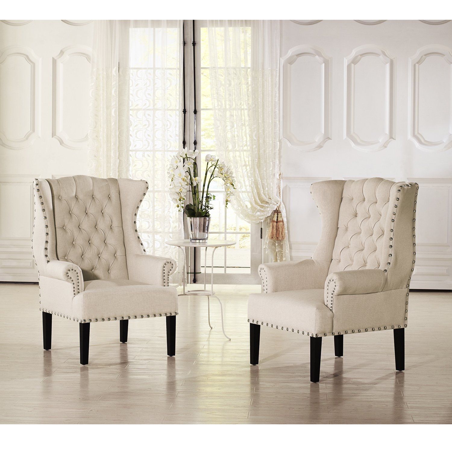 Shop Baxton Studio Patterson Wingback Beige Linen And Burlap Within Patterson Ii Arm Sofa Chairs (Image 16 of 25)