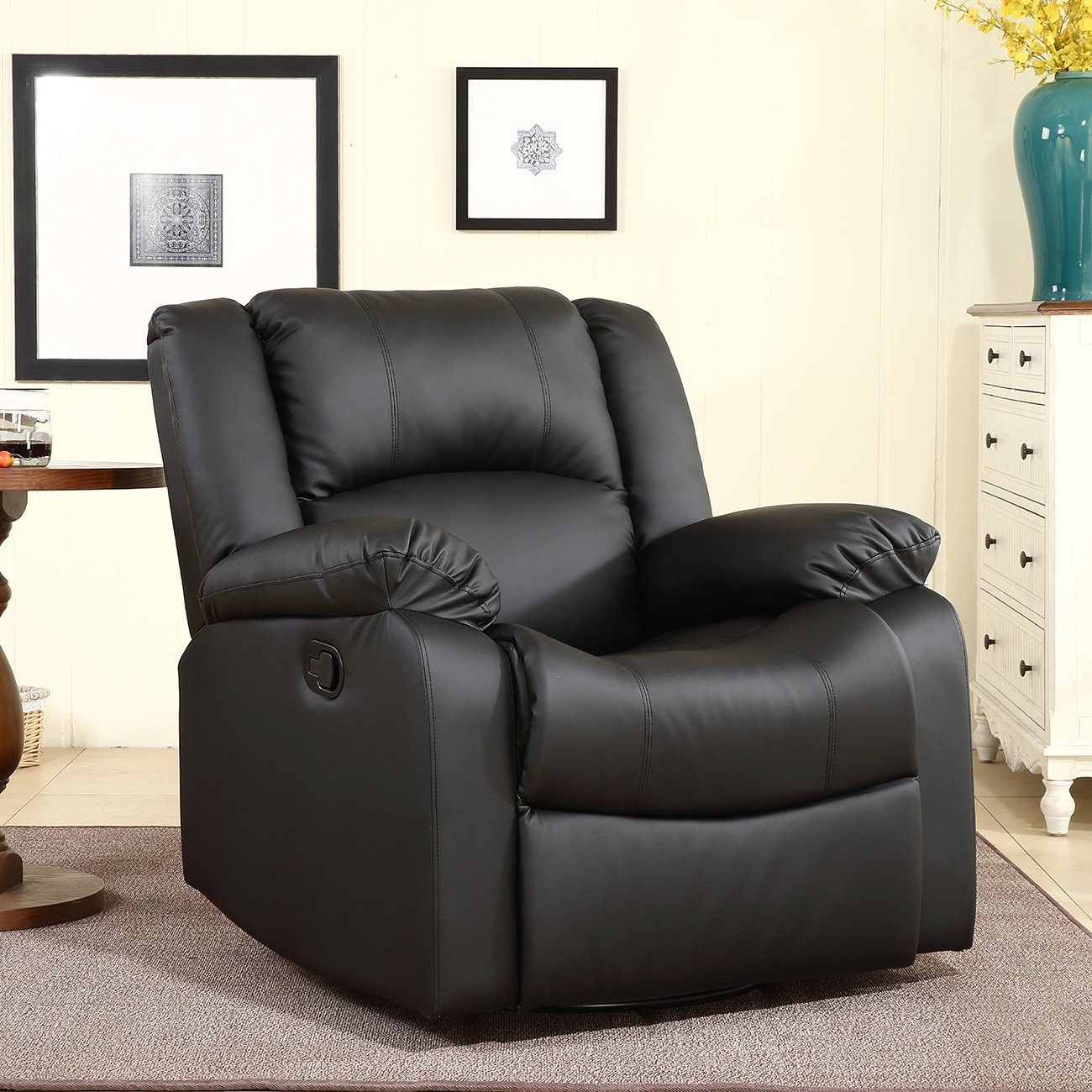 Shop Belleze Rocker And Swivel Glider Recliner Chair Faux Leather Regarding Chocolate Brown Leather Tufted Swivel Chairs (View 25 of 25)