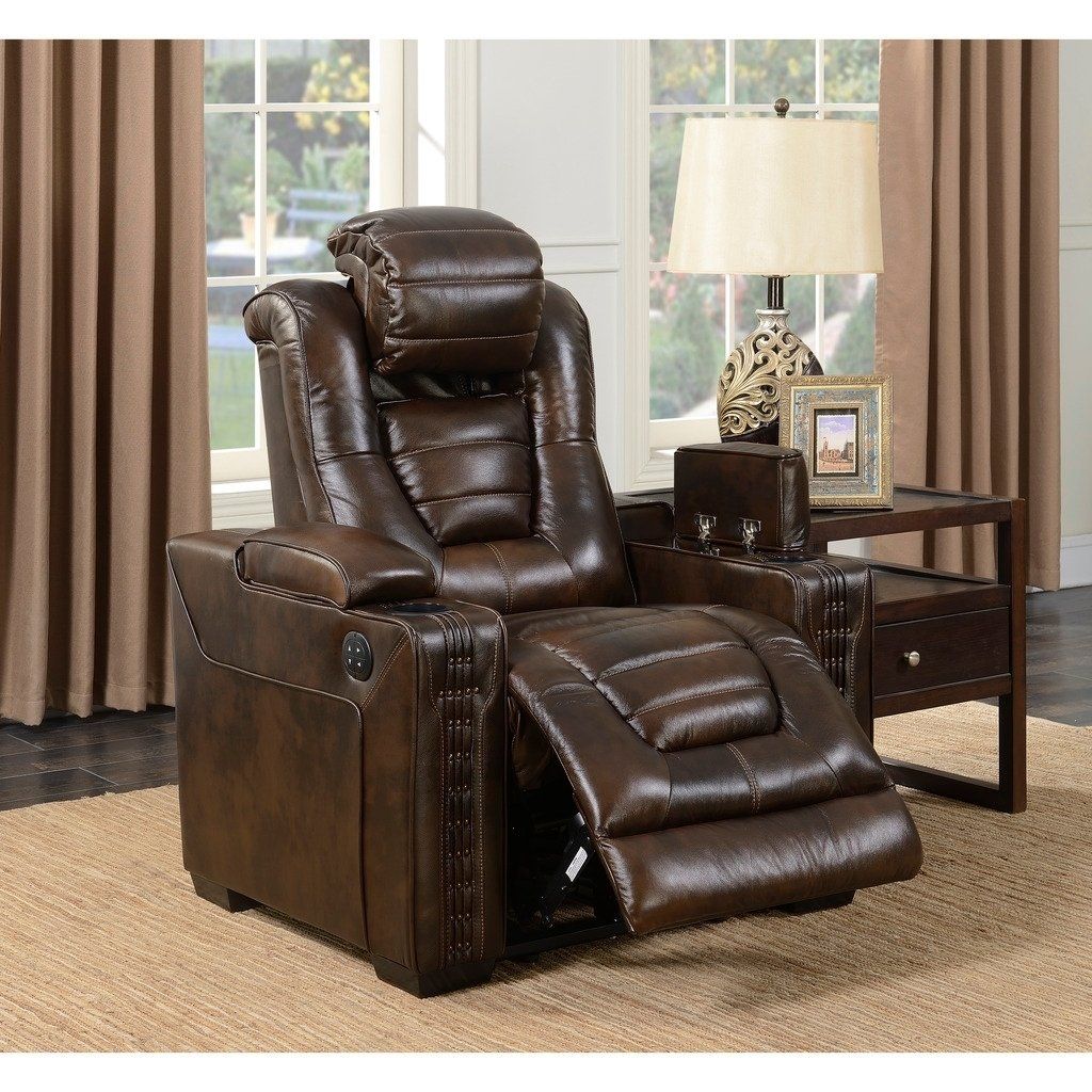 Shop Bowman Leather Recliner Chair With Articulating Headrest – Free Intended For Dale Iii Polyurethane Swivel Glider Recliners (Image 20 of 25)