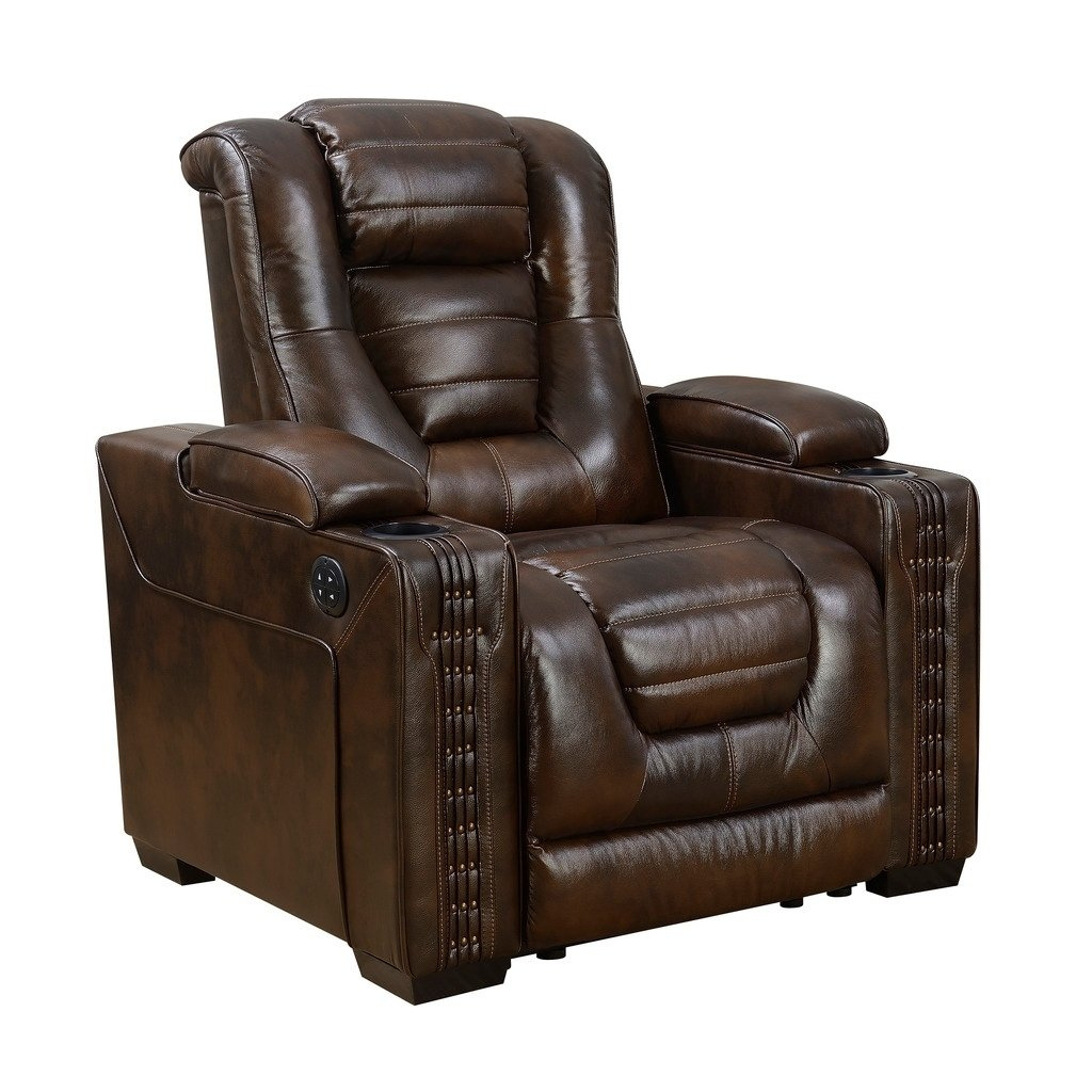 Shop Bowman Leather Recliner Chair With Articulating Headrest – Free Throughout Dale Iii Polyurethane Swivel Glider Recliners (Image 21 of 25)