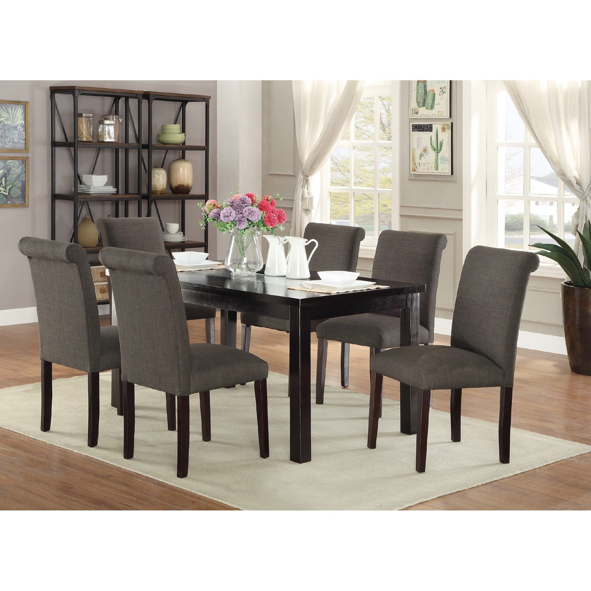 Shop Bremerton 7 Piece Dining Set – Free Shipping Today – Overstock Within Mansfield Graphite Velvet Sofa Chairs (Image 19 of 25)
