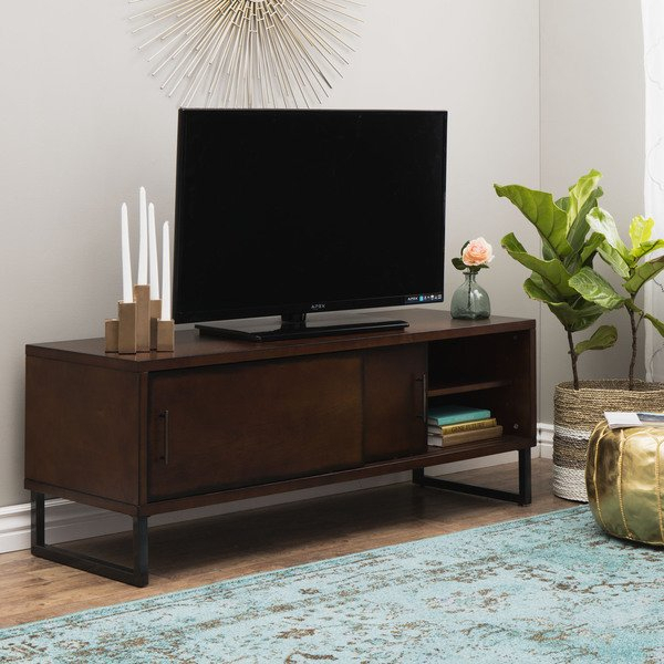 Shop Carbon Loft 54 Inch Breckenridge Walnut Entertainment Center Inside Most Recently Released Rowan 74 Inch Tv Stands (Image 15 of 25)